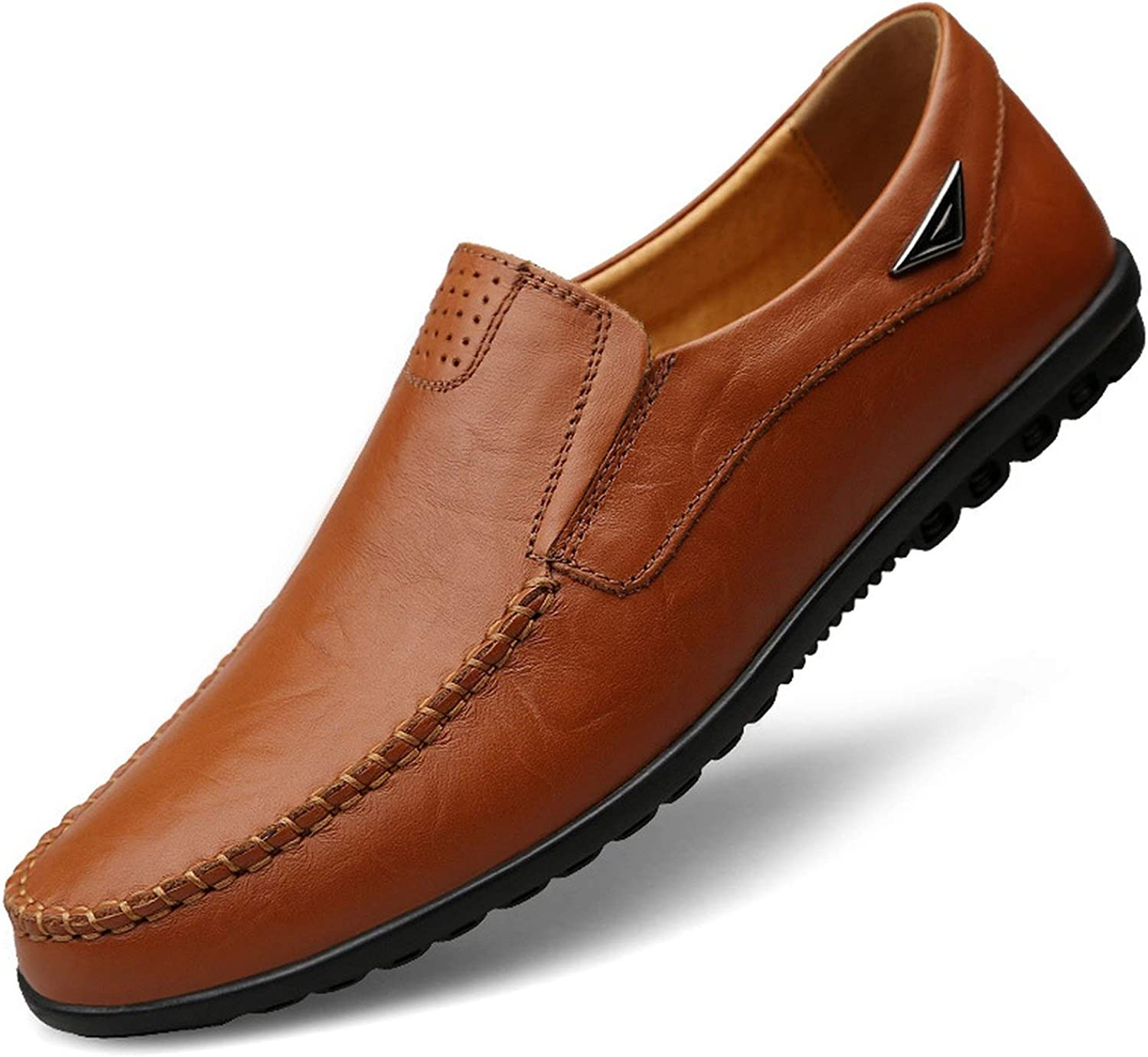 FJ-Direct Genuine Leather Men Casual shoes Luxury Brand 2019 Mens Loafers Moccasins Breathable Slip on Black Driving shoes Plus Size 37-47,Red Brown,8