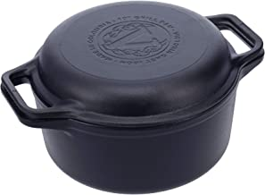 Victoria Cast Iron 2-Piece Set Combo Cooker. Use As 6QT Dutch Oven and Frying Pan Seasoned with 100% Kosher Certified Non-...
