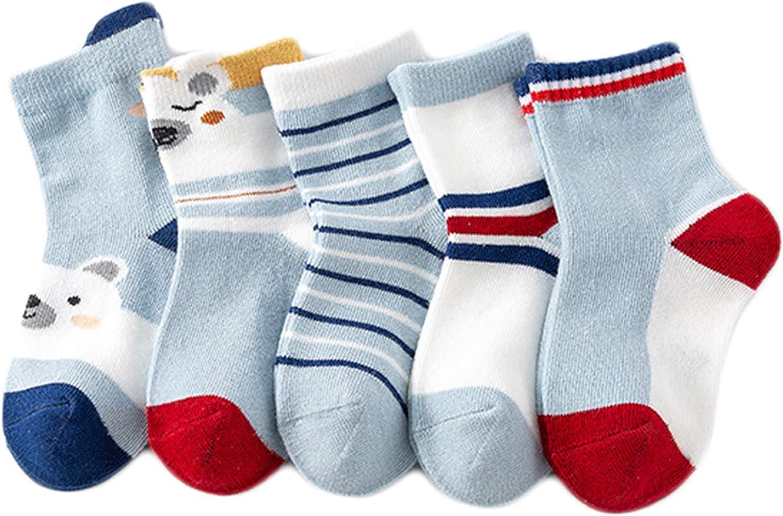 5 Pairs Baby Girl Cotton Socks Cute Animal Casual Socks All Season Crew Socks, B07