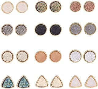Pretty Cute Druzy Crystal Round Stud Earrings Set for Women Girl Fashion Delicate Pierced Jewelry