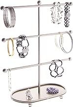 Angelynn's Large Bracelet Holder Organizer Stand Display Jewelry Storage Hoop Earring Rack, Amy Satin Nickel Silver