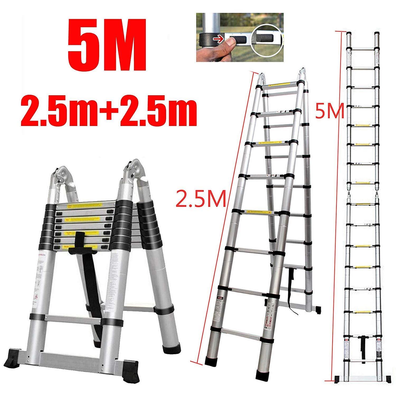 5M Extensión telescópica Escalera de aluminio resistente compacto Escalera Un tipo recto multiuso Escalera plegable antideslizante de bloqueo de seguridad de la carga máxima 150kg escalera plegable po: Amazon.es: Bricolaje y herramientas