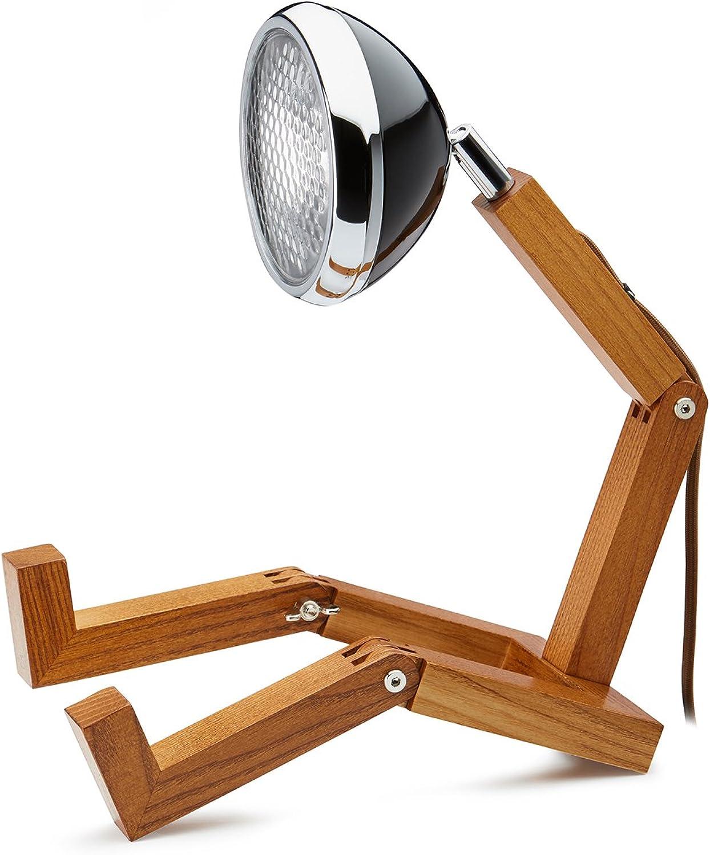 Mr. Wattson, die flexible Eschenholz Tischlampe in schwarz - Aluminium mit LED Leuchtmittel