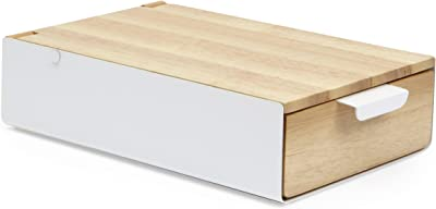 UMBRA Reflexion storage box. Boîte à bijoux Reflexion, compartimentée et avec miroir. En bois naturel et métal blanc.  Dimension 23.5x14x5.8cm