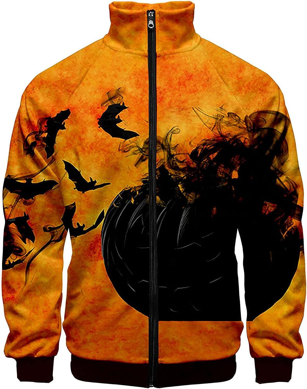 Men's Stand Collar Zipper Sweater,Halloween Pullover Crewneck Long Sleeve Sweatershirt 3D Digital Print Tops