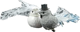 Touch of Nature Fancy Wedding Bird Set, 7-Inch, Gray/White
