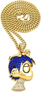 L Uzi Small Cartoon Pendant Necklace(Gold Color with Blue Stones with Cuban Chain)