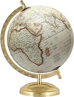MasterpieceIndia 8 Inches Diameter Earth Home Decor Rotating Globe Decorative Off-White Handmade Antique Gift
