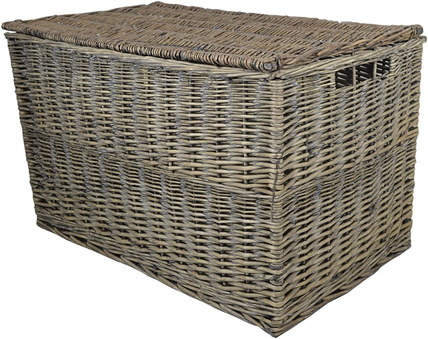 Grey Wicker Large Storage Hamper W83 x D50 x H51cm   Trunk Basket Toy Box Gift Hamper