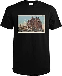 Spokane, WA - View of Davenport Hotel #1 6396 (Black T-Shirt X-Large)