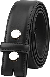Falari Replacement Genuine Leather Dress Belt Strap Without Buckle Snap on Strap 33mm fit 35mm Buckle