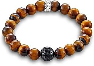 Thomas Sabo Rebel at Heart A1408-806-2-L21 Bracelet pour homme en argent 925 avec œil de tigre Marron 21 cm