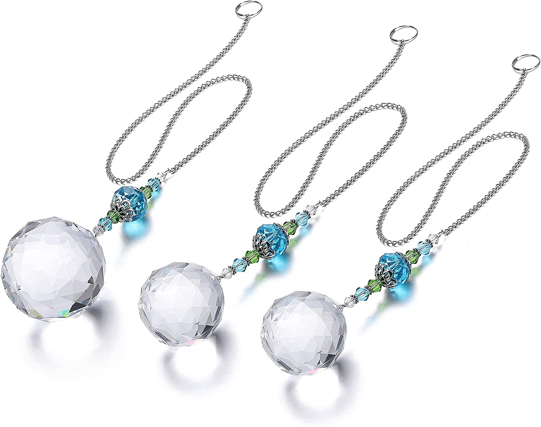GEHECRST 3 PCS Clear Crystal Glass Ball Prisms Suncatcher Hanging Ornament Set, Rainbow Makers Pendant Decor for Chandelier, Window, Wall, Garden, Home, Car Rear View Mirror