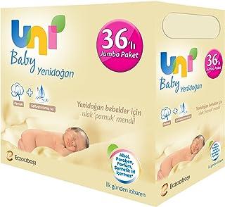 Uni Baby Yenidoğan Islak Pamuk Mendil 36'lı