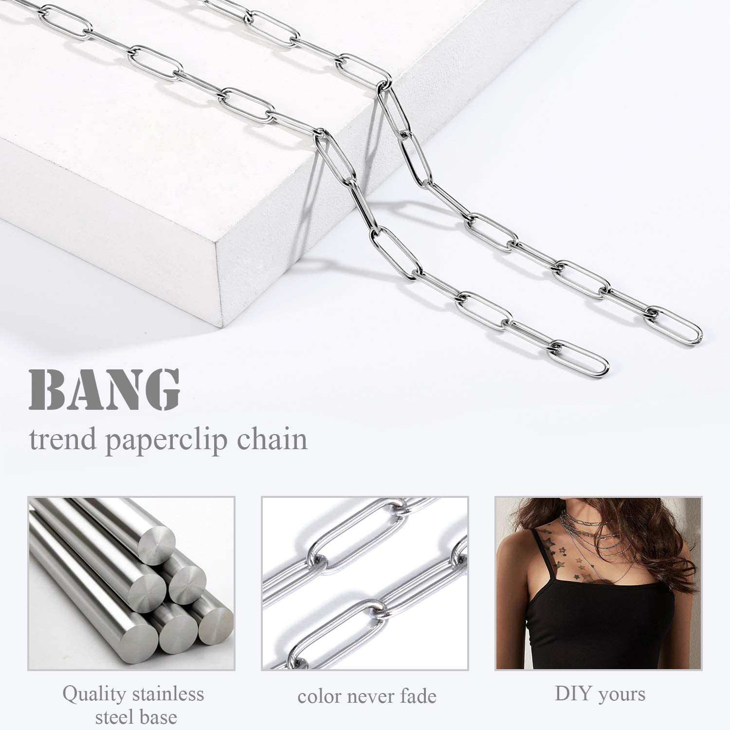 ALEXCRAFT 24 feet Chains for Jewellery Making Stainless Steel Papaerclip Link Chain Bulk for DIY Necklace