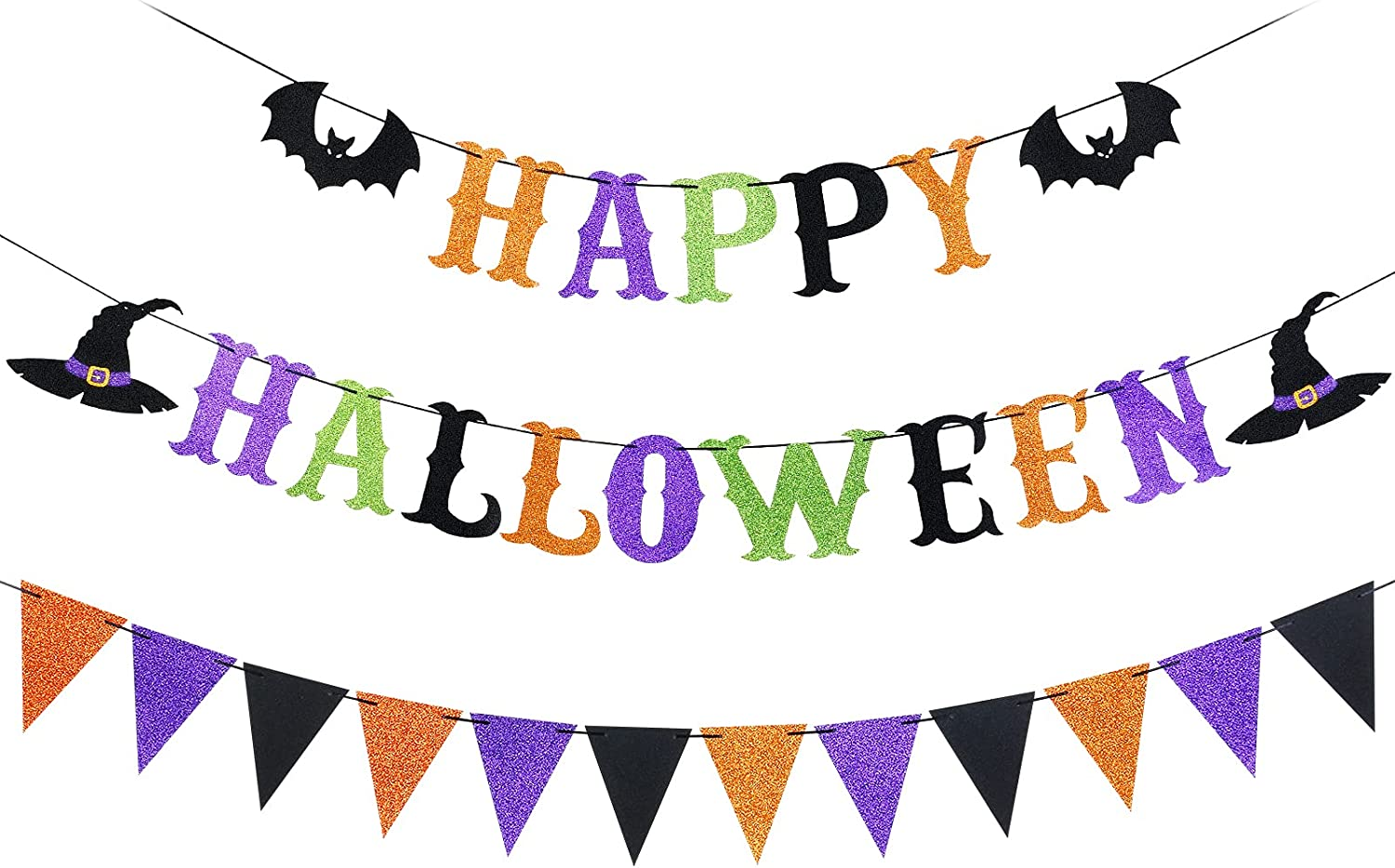 Happy Halloween Banner Halloween Witch Banner Party Decorations, Halloween Decorations Indoor, Halloween Banner Decorations for Haunted House Mantle Fireplace Office Home Decor
