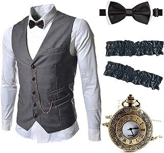 EFORLED Mens 1920s Accessories Gangster Vest Set - Pocket Watch,Armbands,Pre Tied Bow Tie