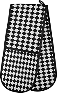AUUXVA Ombra Long Double Oven Mitt for Baking Classic Black White Check Pattern Heat Resistant Quilted Double Oven Glove P...