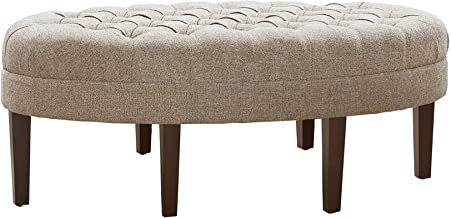 Madison Park Martin Oval Surfboard Tufted Ottoman Large - Soft Fabric, All Foam, Wood Frame Linen Oval Coffee Table Ottoman - 1 Piece Modern Design Coffee Table for Living Room