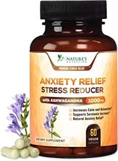 Anxiety Supplements Natural Stress Relief 1000mg - Mood Boost, Thyroid & Adrenal Support, Made in USA, Serotonin & Dopamine Enhancer w/Ashwagandha & 5HTP - 60 Capsules