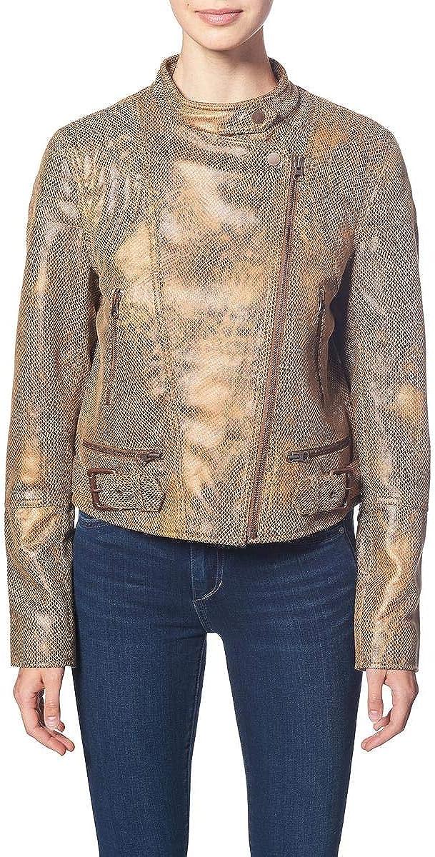 We The Free Womens Snake Skin Fenix Vegan Faux Leather Moto Coat Brown M