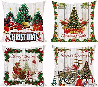 Set of 4 Merry Christmas Season's Greeting Santa Claus Tree Flower Decorative Ball Snowman Cotton Linen Cushion Cover Case for Sofa Living Room Family Office Decorative Throw Pillow Case 18X18 inches