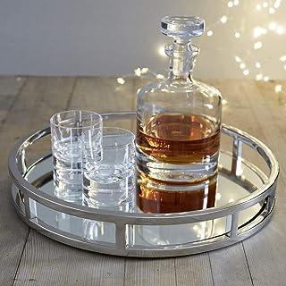 Le'raze Mirrored Vanity Tray, Decorative Round Tray with Chrome Handles for Display, Perfume, Vanity and Bathroom, Elegant...