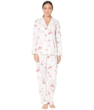 LAUREN Ralph Lauren Classic Sateen Long Sleeve Notch Collar Long Pants Pajama Set (White Floral Stripe) Women