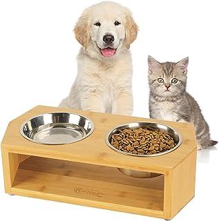 HANKEY ペットボウル 犬 猫 食器 犬用 sサイズ フードボウル ペット食器台 フードボウルスタンド 餌皿 水入れ ステンレス製 竹製 小型犬 中型犬 猫用 (S)