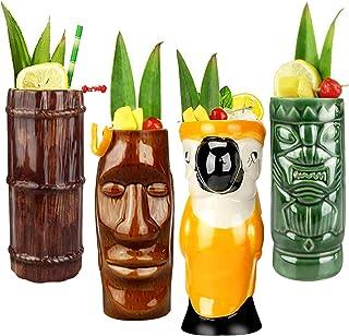 Tiki Mugs Cocktail Set of 4 - Large Ceramic Hawaiian Party Mugs Drinkware, Cute Exotic Cocktail Glasses, Tiki Bar Professi...