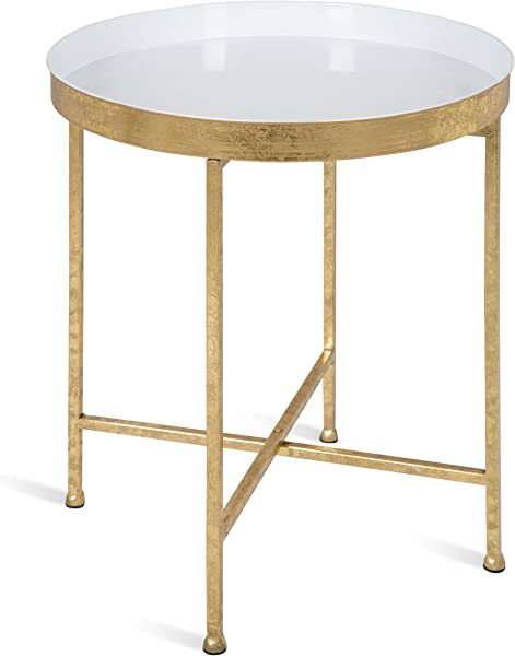 Kate And Laurel Celia 18 Inch Round Metal Foldable Tray Accent Table White And Gold