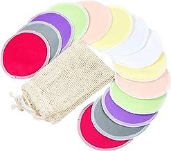 Bamboo Nursing Pads (14 Pack)+Laundry Bag & Travel Storage Bag, 2 Sizes: 3.9/4.7inch Option - Washable & Reusable Nursing ...