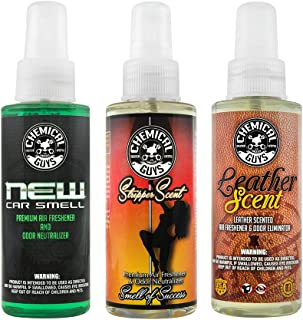 Chemical Guys AIR_301_04 Best Air Freshener Kit - New Car Scent, Leather Scent & Signature Stripper Scent (3) 4 oz. Bottles