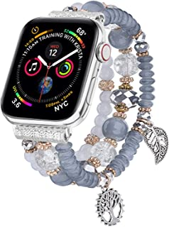 V-MORO Bracelet Compatible with Apple Watch Band 40mm/38mm Series 5 4 Women Fashion Handmade Elastic Stretch Beads Replacement for iWatch Series 3/2/1 38mm/40mm with Silver Stainless Steel Adapter