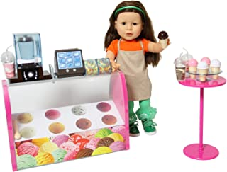 Doll Ice Cream Set - Complete Doll Electronic Ice Cream Parlor - Fits All 18 inch Dolls