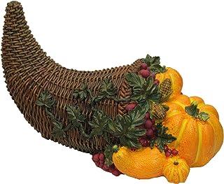 "Northlight 13"" Brown and Vivid Orange Basket with Pumpkins Thanksgiving Tabletop Figurine"