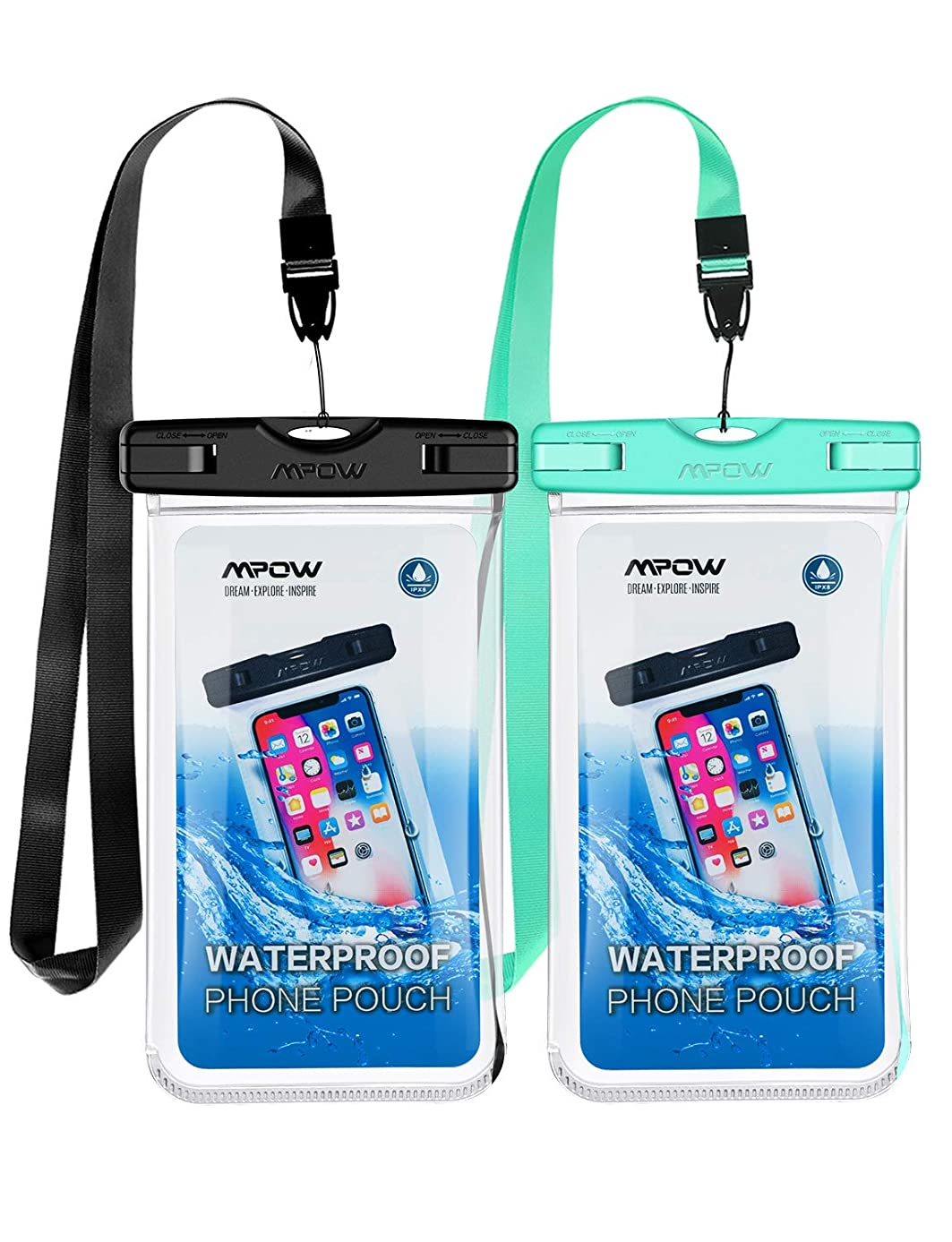 Mpow Waterproof Phone Pouch, Full Transparency IPX8 Cellphone Dry Bag, Underwater Waterproof Underwater Case Compatible with iPhone Xs Max/XS/XR/X/8, Galaxy S10, Note 9, Google up to 6.5