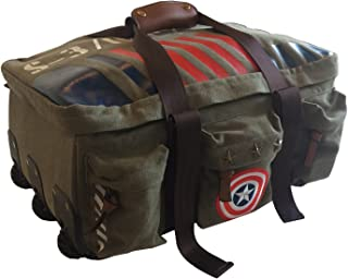 BB Designs, Captain America Vintage Military Canvas Duffle Trolley, Luggage Bag