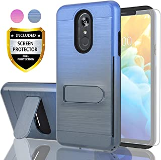 AYMECL LG Stylo 4 Case,LG Q Stylus Case,LG Stylo 4 Plus/LG Stylo 4+ Case with HD Screen Protector,[Card Slots Holder] Plastic TPU Hybrid Gradient Color Case for LG Stylo 4-GC Blue&Cyan