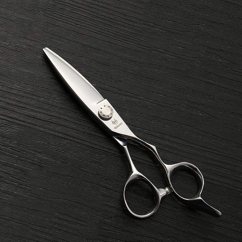 化石組み立てる親6インチ美容院プロフェッショナル散髪ランセットフラットせん断、440 c高品質鋼新しいトレンド散髪はさみ モデリングツール (色 : Silver)