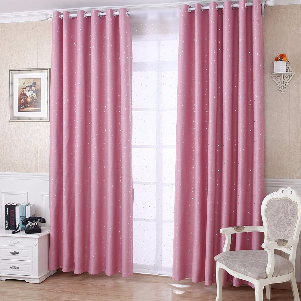 Pureaqu Semi Blackout Kids Nursery Silver Bedroom Curtains Limited time sale Limited Special Price Pink