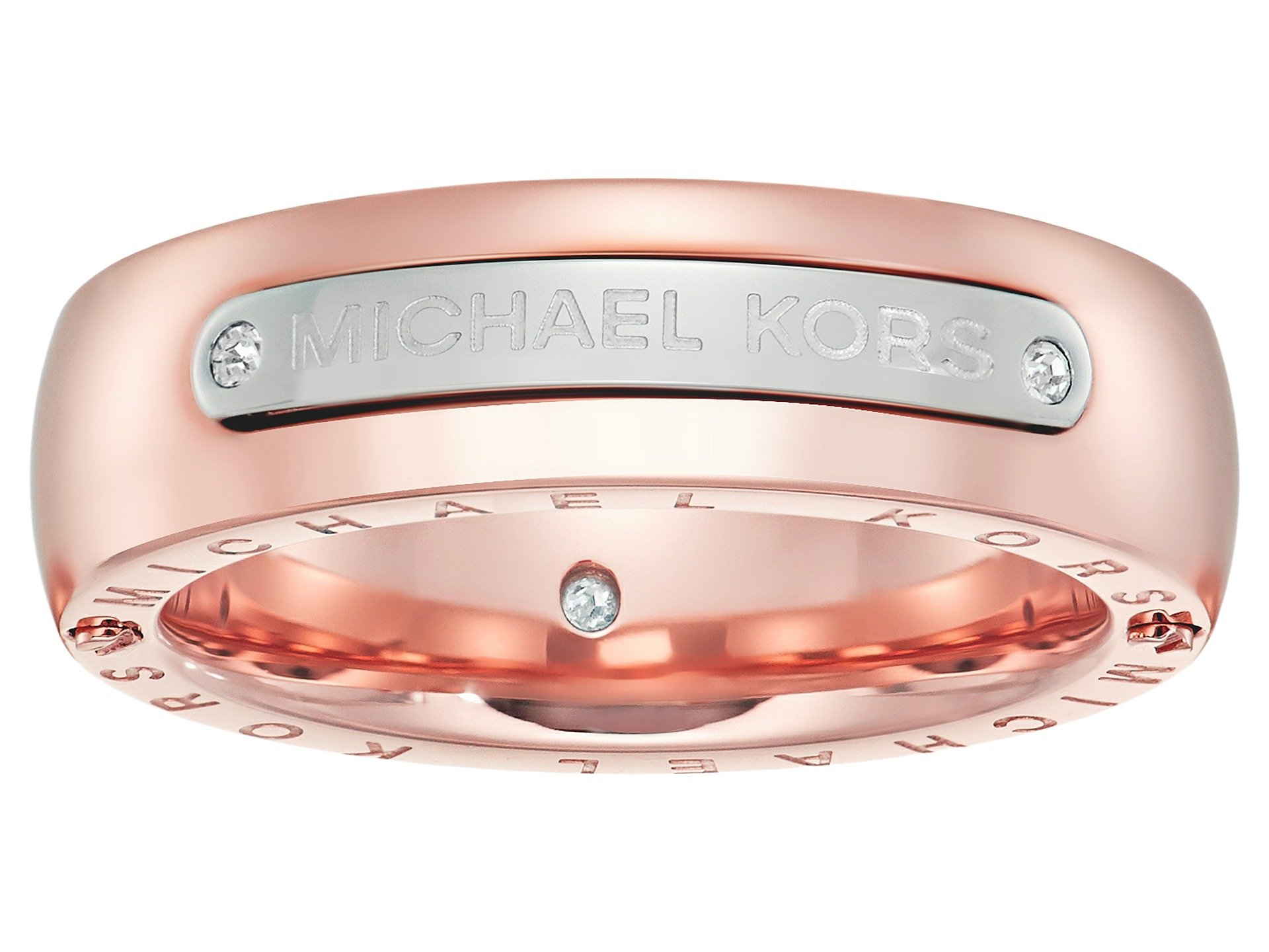 Anillo para Mujer Michael Kors Tailored Two-Tone Logo Plaque Band Ring  + Michael Kors en VeoyCompro.net