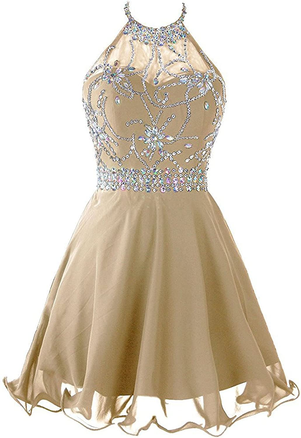Beilite Women's Short Beaded Prom Dress Backless Hater Cooktail Party Dress