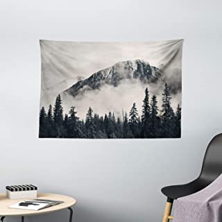 Ambesonne National Parks Tapestry, Canadian Smokey Mountain Cliff Outdoors Idyllic Scenery Photo Artwork, Wide Wall Hangin...