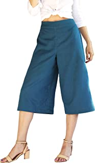 Tropic Bliss Organic Cotton Capri Pants for Women, Gauchos with Wide Leg