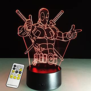 3D Lamp Deadpool Remote Control Best Gift For boys Acrylic Table Night light Furniture Decorative colorful 7 color change ...