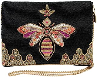 Mary Frances Lieve Beaded Bee Crossbody Clutch Handbag