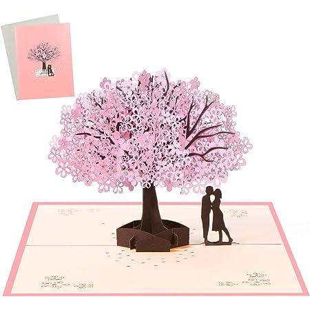 Vicloon Biglietto d'Auguri, Matrimonio Anniversario Pop Up 3D Carta, Romantico Biglietti Natale con Busta, Amanti Sotto il Ciliegio Rosa Regalo per Moglie Marito Fidanzata Sposa e Mamma