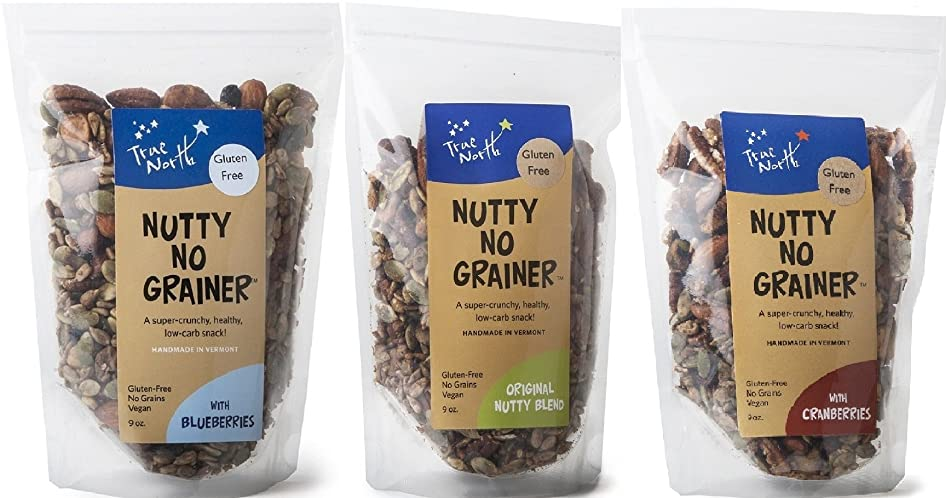Paleo, Gluten Free and Vegan Grain Free Granola, non GMO, all natural by True North Granola | Healthy Snack Variety Pack (9 oz bag - 3 PACK)