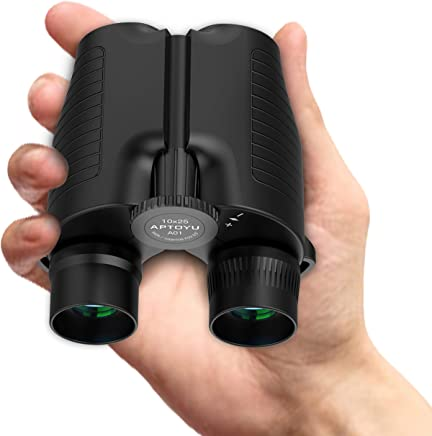 Compact Binoculars for Adults/Kids, 10x25 HD Roof Prism Folding Binoculars with Weak Light Night Vision for Bird Watching Hunting Hiking Concert Sports Travel, BAK4 Prism FMC Lens, Life Waterproof